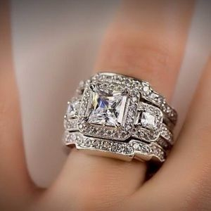Jewelry - Sterling Silver Fashion Engagement Ring Set- NEW!